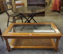 A Mixed Lot Of Furniture, Comprising of a three section bookcase, coffee table, two bedside