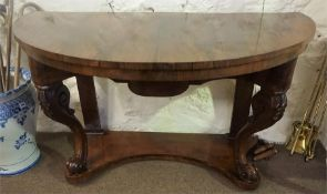 A Victorian Converted Demi-Lune Side Table, comprising of a rosewood table top on a princess