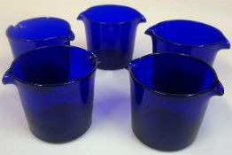 A Set Of Five Bristol Blue Glass Rinsers, with double spout, 10cm high, 13.5cm wide, (5)