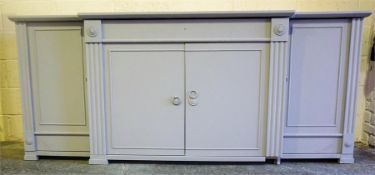 A Contemporary Grey Painted Sideboard, 93cm high, 220cm wide, 59cm deep