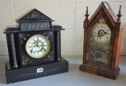 A Late Victorian French Black Slate Mantel Clock, 36.5cm high, lacking back cover and pendulum, also