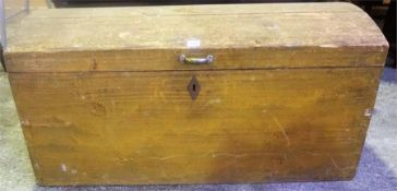 An Antique Painted Pine Blanket Box, with hinged domed top enclosing a candle box, with metal