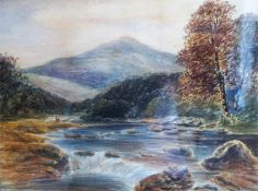 "Scottish School ""Pass Of Leny Perthshire"", unsigned Victorian watercolour, 27 x 38cm, in giltwood"