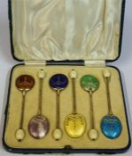A Set Of Six Silver & Harlequin Enamel Coffee Spoons, with bean top terminals, hallmarks for