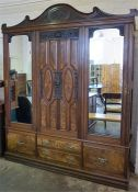 A Late Victorian Figured Walnut Wardrobe