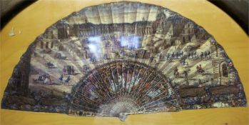 An Antique French Chromo Lithograph On Wood Jigsaw Puzzle, in the form of a fan, depicting a scene