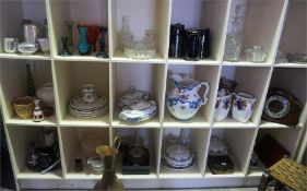 A Large Quantity Of Sundry China, Glass & Pottery, to include a Chinoiserie jewellery box, a Rafia