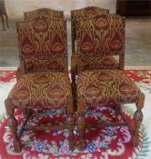 A Set Of Four Oak Dining Chairs, upholstered in later fabric, raised on turned legs, 93cm high, (4)