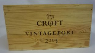 A Case Of Twelve Bottles Of Croft Vintage Port 2003, case sealed, ( The following lots 73-92 are