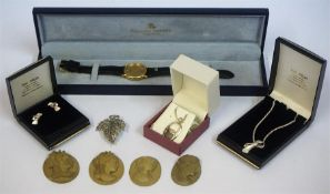 A Quantity Of Silver & Other Jewellery, to include boxed silver jewellery, four clay Cameo pendants,
