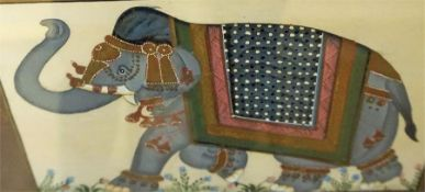 A Pair Of Indian Pictures On Silk, 20th century, depicting an elephant, 23 x 32.5cm, framed