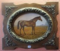 "British School ""Horse Subject"" Oil On Board, 36 x 38.5cm, in a carved wood frame"