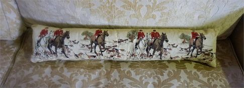 A Modern Cushioned Draught Excluder, Depicting Hunting scenes, 90cm long, 23cm deep