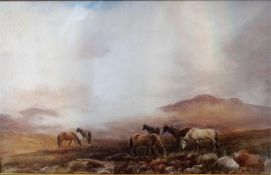 "G Bulgin ""Horses On Dartmoor"" Watercolour, signed lower left, 26.5 x 42cm, framed, a pair, (2)"