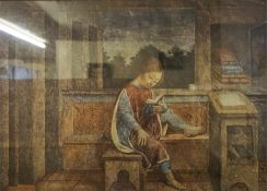 "After Vincenzo Foppa ""Young Girl Reading"" Framed Print, 44 x 61cm, label to verso, also with an"