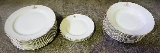 A Quantity Of Japanese Porcelain Dinnerwares, to include plates and bowls, all bearing the crest for