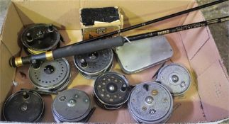 A Group Of Eight Fishing Reels, to include four by Beaudex, three by Condex, and one by Pridex, also