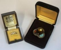 A Ladies Three Stone CZ Ring, also with a Scottish Style Pebble Brooch, (2)