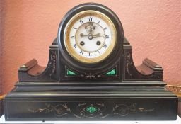 A Late Victorian French Black Slate Drum Head Mantel Clock, with malachite decoration, the twin