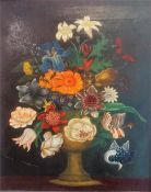 "Continental School, ""Still Life"" Subject Of Flowers, unsigned oil on panel, 41.5 x 33cm, in gilt"