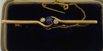 An Edwardian Sapphire & Diamond 9ct Gold Bar Brooch, with safety chain,