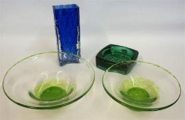 A Pair Of Borders Art Glass Bowls, tinted in green, 22cm diameter, also with two pieces of 1960s