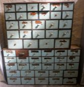 Two Sets Of Victorian Painted Pine Apothecary Nest Of Drawers, comprising of 26 assorted drawers