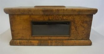 A Victorian Portable Burr Wood Postal Box, with glazed window to the front and open section to the