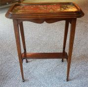 A Converted Victorian Mahogany & Beadwork Table, the beadwork stand top is affixed to a later