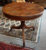 A Georgian Ash Tripod Table, the circular top raised on a ring turned column support and tripod