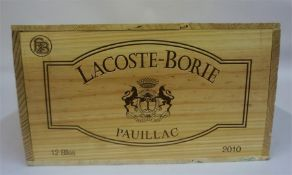 A Case Of Twelve Bottles Of Lacoste-Borie Pauillac 2010, case sealed