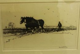 """Harold Storey (British 1888-1965) """"Ploughing"""" Signed Proof Etching, signed in pencil to lower right,"""