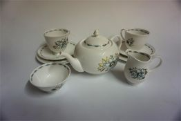 "A Susie Cooper ""Bridal Bouquet"" Nine Piece Bone China Breakfast Set, to include tea pot, (9)"