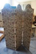 A Folding Three Section Dressing Screen, Decorated with floral upholstered fabric, 181cm high, 135cm