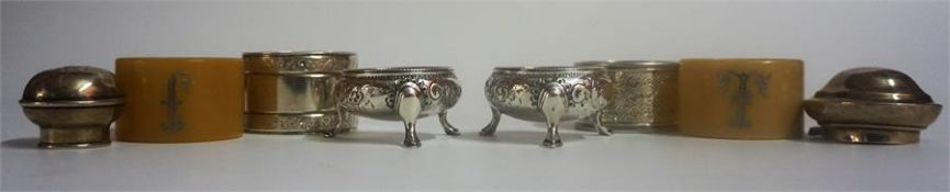 A Mixed Lot Of Silver Napkin Rings & Condiments, Comprising of two silver napkin rings, a pair of