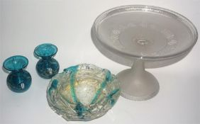 A Signed Medina Glass Bowl, Decorated with blue and gold coloured inclusions, signed and numbered