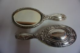 A Matching Art Nouveau Silver Backed Hair Brush & Hand Mirror, Hallmarks for Walker & Hall