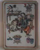 A Chinese Famille Rose Dish, in the 18th century style, of shallow rectangular form, Decorated