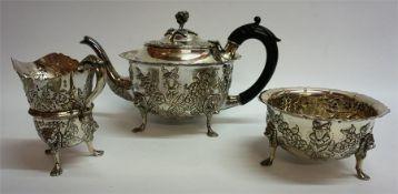 An Irish Silver Three Piece Tea Service, Hallmarks for West & Son Dublin, circa early 20th