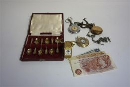 A Mixed Lot Of Jewellery, Silver & Banknotes, to include a 9ct gold opal ring, a silver albert