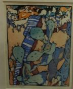 """Mabel Alington Royds (British 1874-1941) """"The Goatherd"""" Colour Woodcut, signed in pencil to lower"""