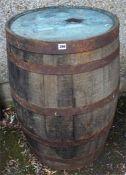 A Large Wood & Metal Bound Barrel, circa early 20th century, 91cm high, 57cm diameter