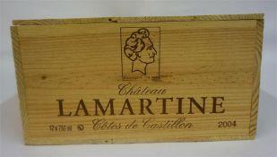A Case Of Twelve Bottles Of Chateau Lamartine 2004, Cotes De Castillon, 750ml, case sealed