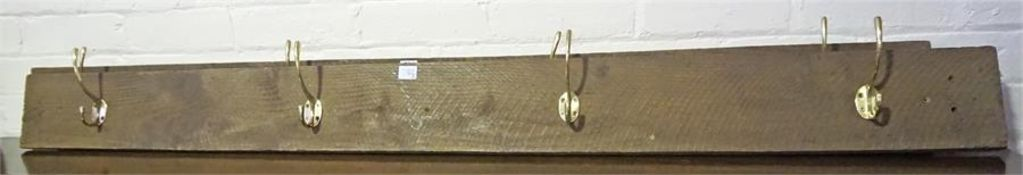 A Pair Of Hat & Coat Racks, with four gilt metal hooks, 15cm high, 163cm wide, (2)