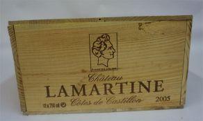 A Case Of Twelve Bottles Of Chateau Lamartine 2005, Cotes De Castillon, 750ml, case sealed