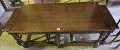 An Oak Long John Style Nest Of Three Tables, 45cm high, also with a walnut nest of three tables, (6)