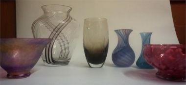 A Mixed Lot Of Art Glass Vases & Bowls, to include examples by Caithness, various sizes, (7)