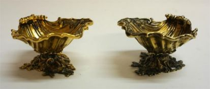 A Pair Of Silver Gilt Table Salts, Hallmarks for C.J. Vander London 1965, modelled as shells, 5cm