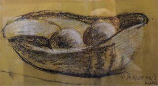 "Attributed to Trevor Owen Makinson (1926) ""Still Life Of Fruit in Bowl"" Pastel, signed T Makinson,"