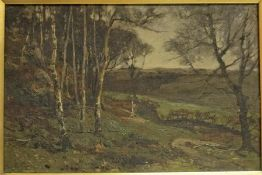 "John Hamilton Glass (1820-1885) ""Borders Scene"" Oil On Board, Probably depicting Roxburghshire,"
